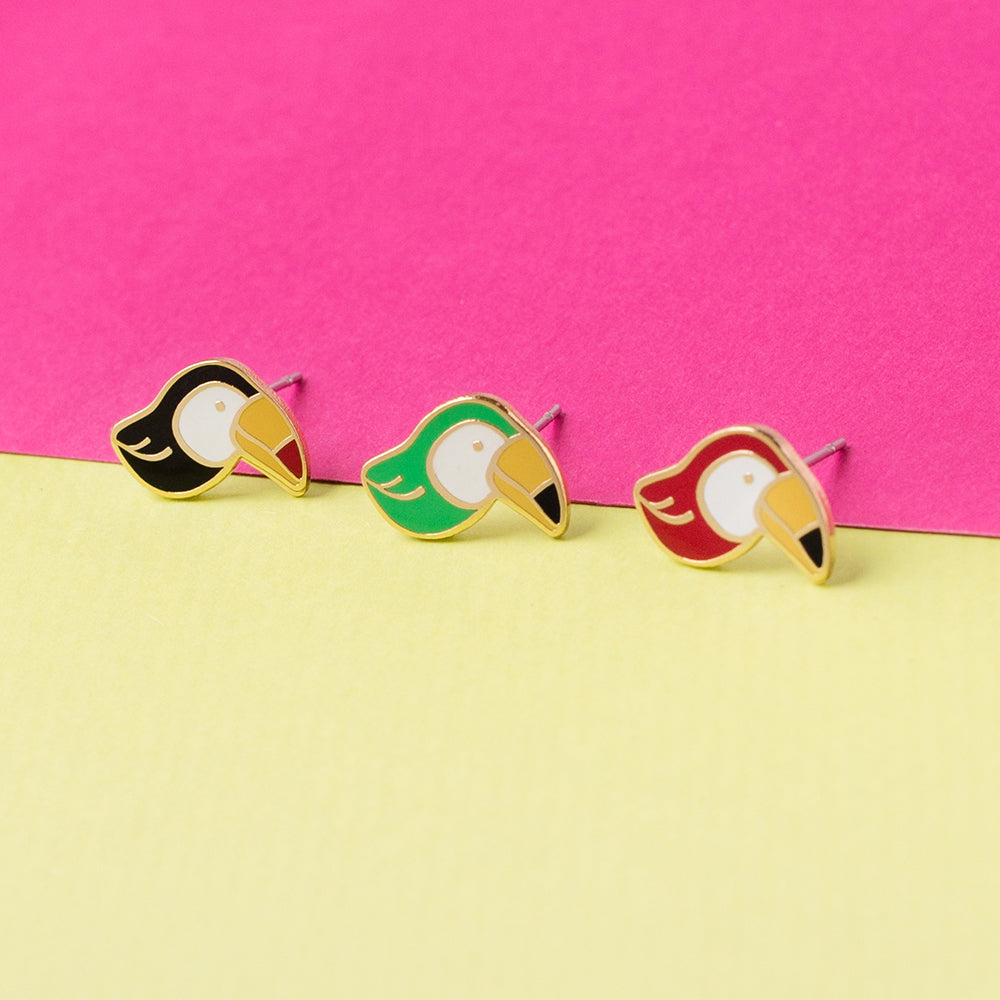 Toucan Enamel Stud Earrings | Miss Modi