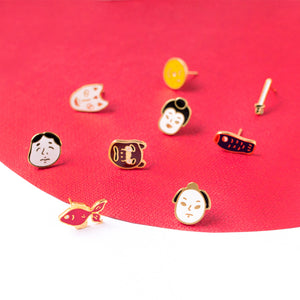 Japan Impression Mismatched Enamel Stud Earrings