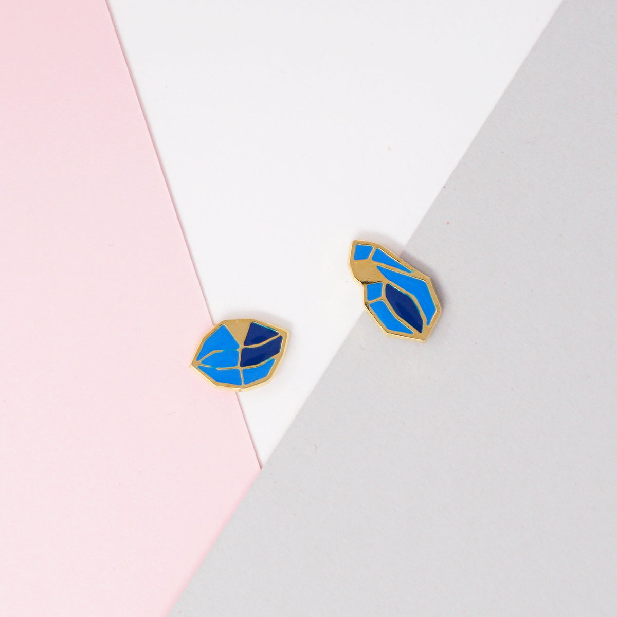 Blue Glacial Heart Ore Enamel Stud Earrings