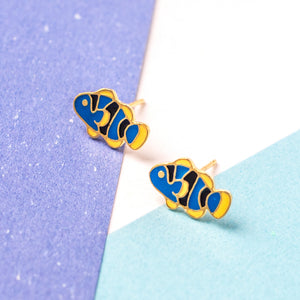 Blue Clownfish Enamel Stud Earrings