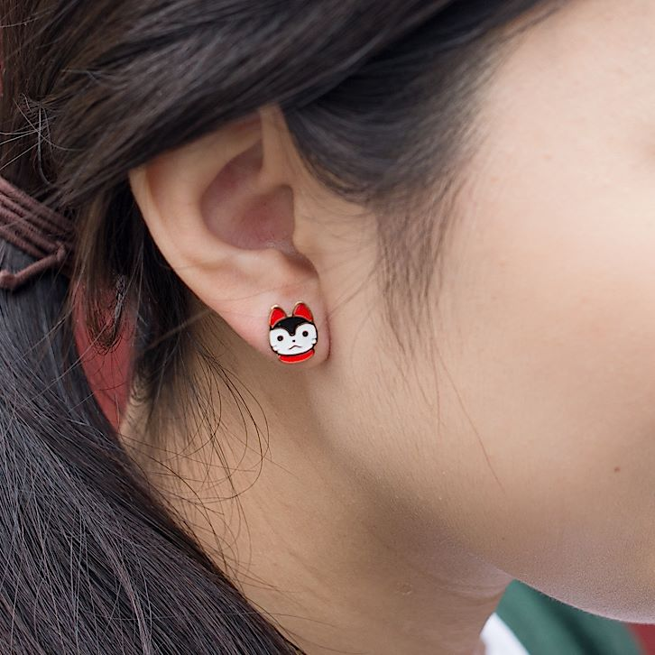 Handcrafted Inu Hariko Enamel Stud Earrings