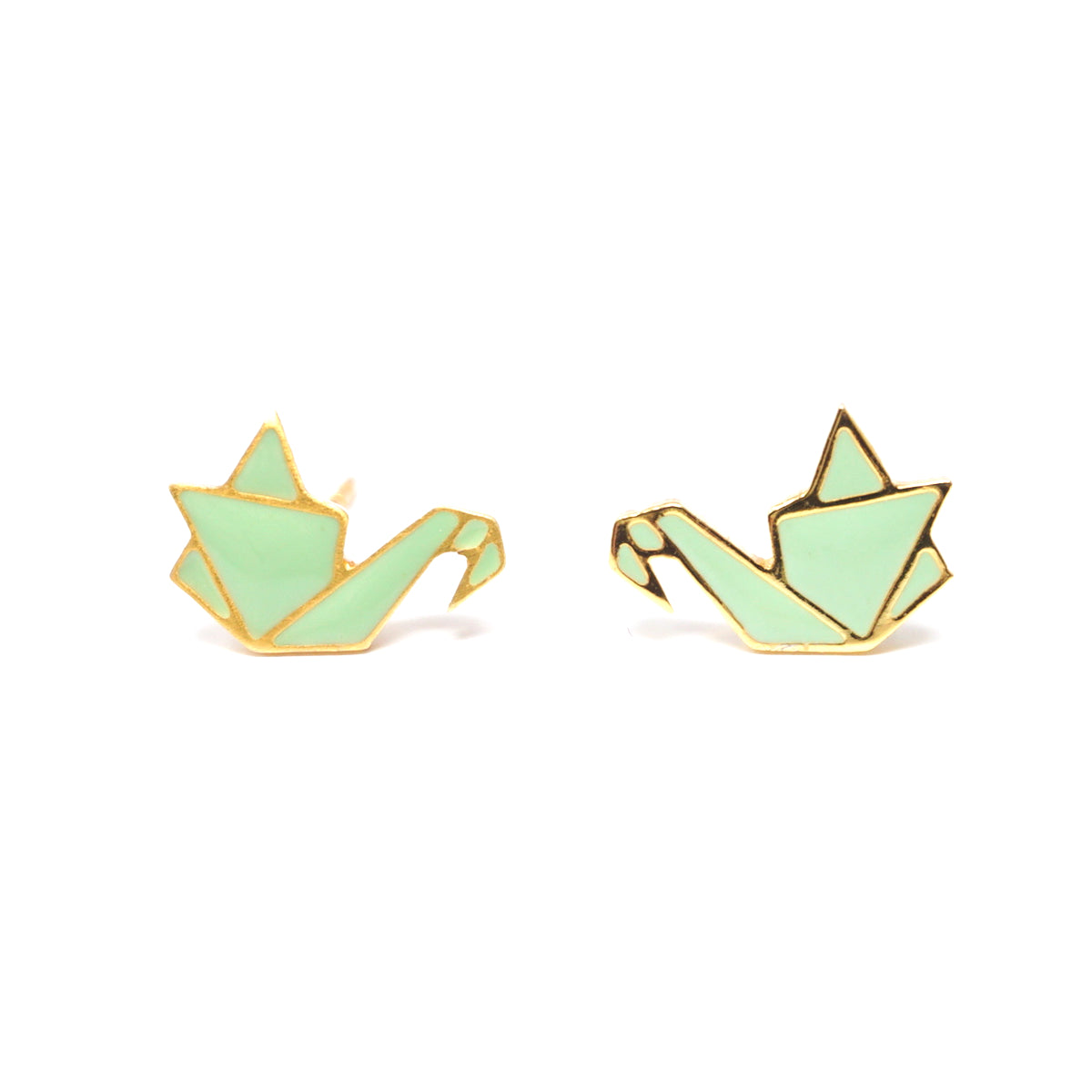 Origami Crane Green Enamel Stud Earrings