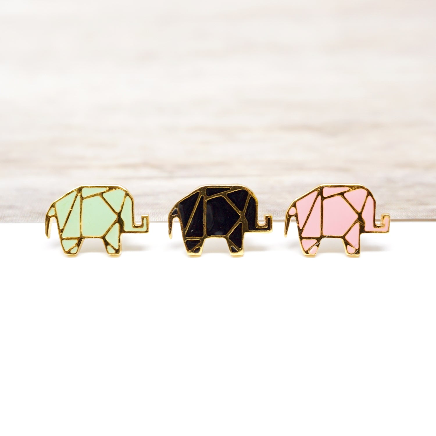 NEW! Origami Elephant Enamel Stud Earrings