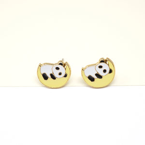 Panda Moon Enamel Stud Earrings