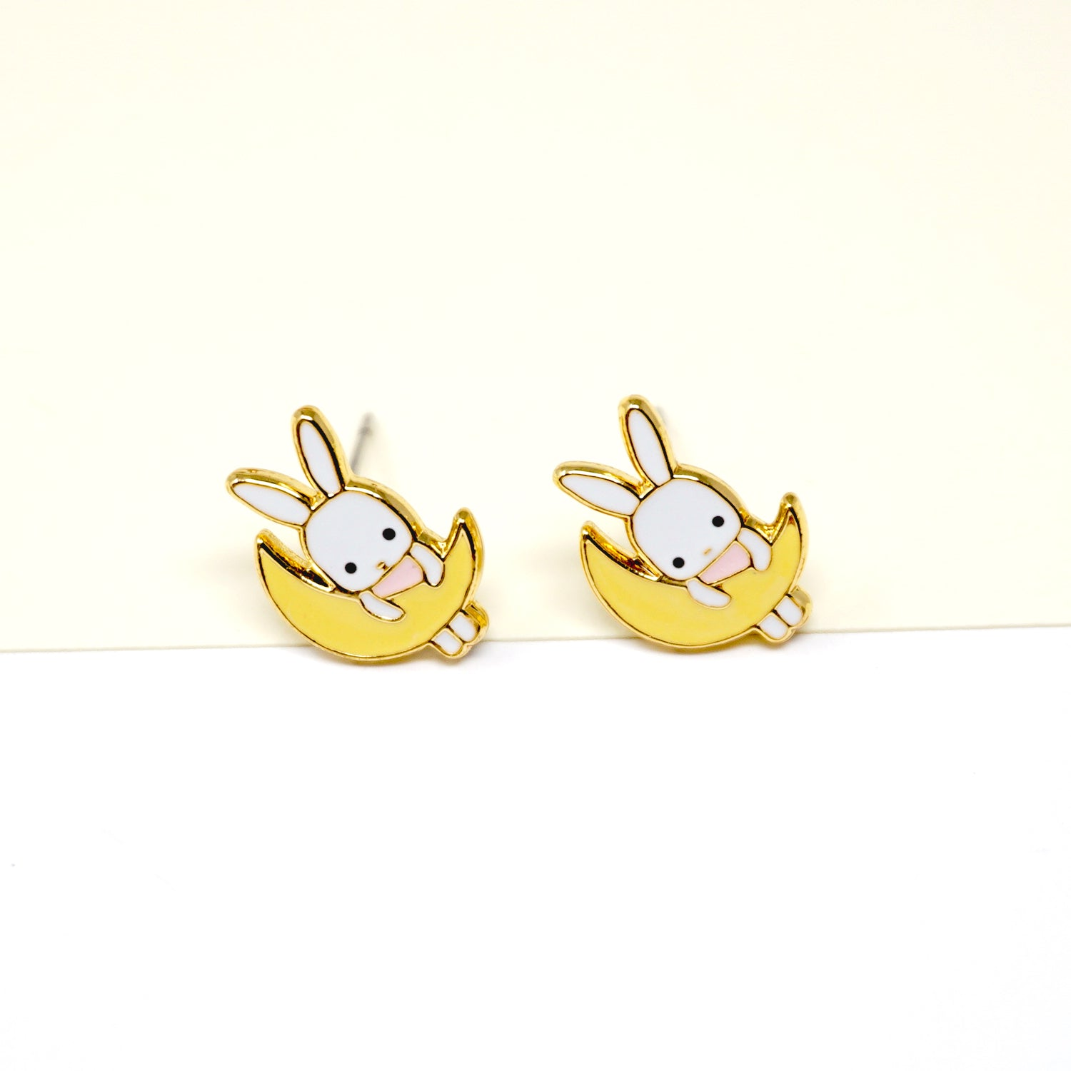 Bunny On The Moon Enamel Stud Earrings
