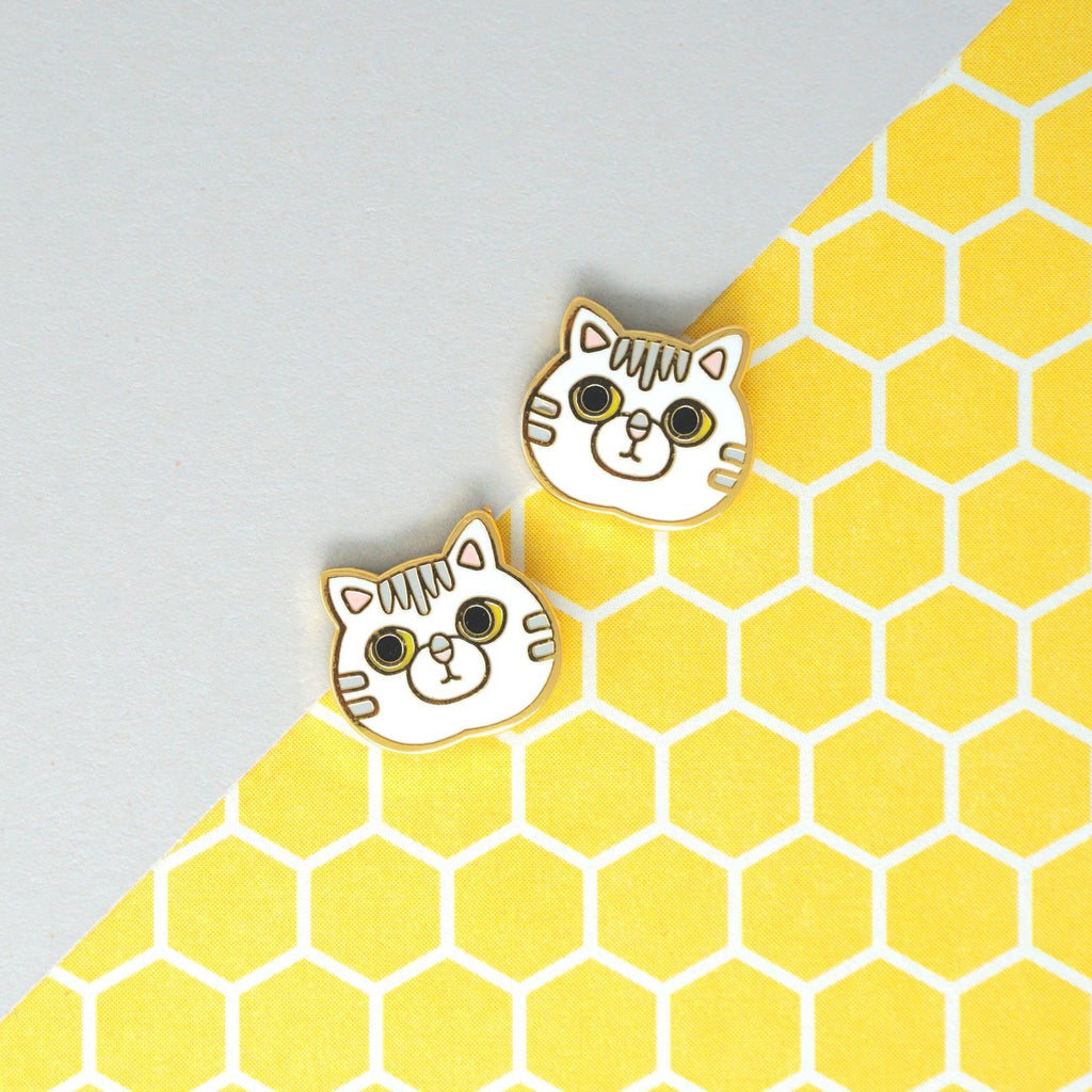 Handcrafted White Tabby Cat Enamel Stud Earrings