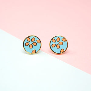 Miss Modi presents Handcrafted Sakura Light Blue Enamel Stud Earrings