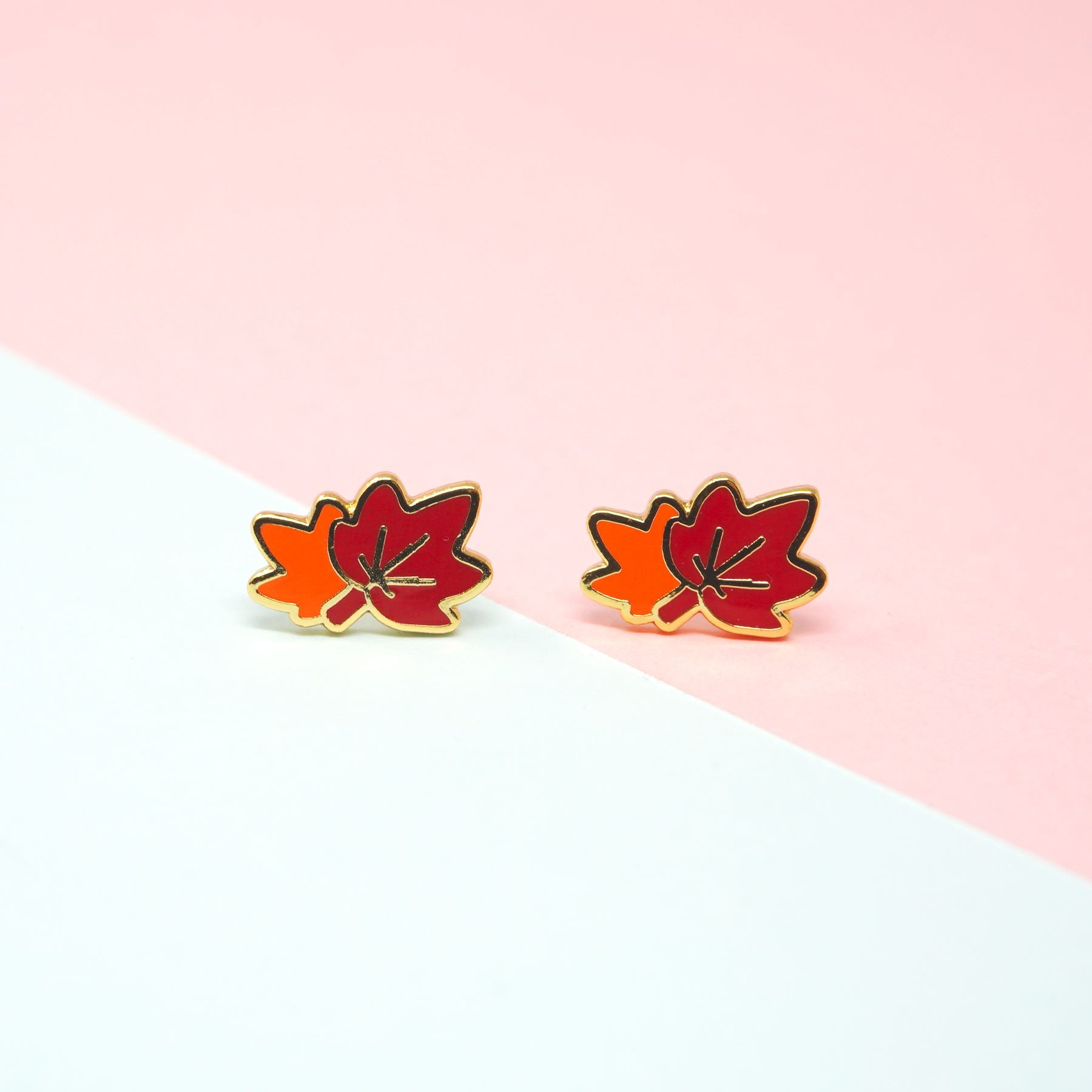 Miss Modi presents Handcrafted Maple Leaves Enamel Stud Earrings