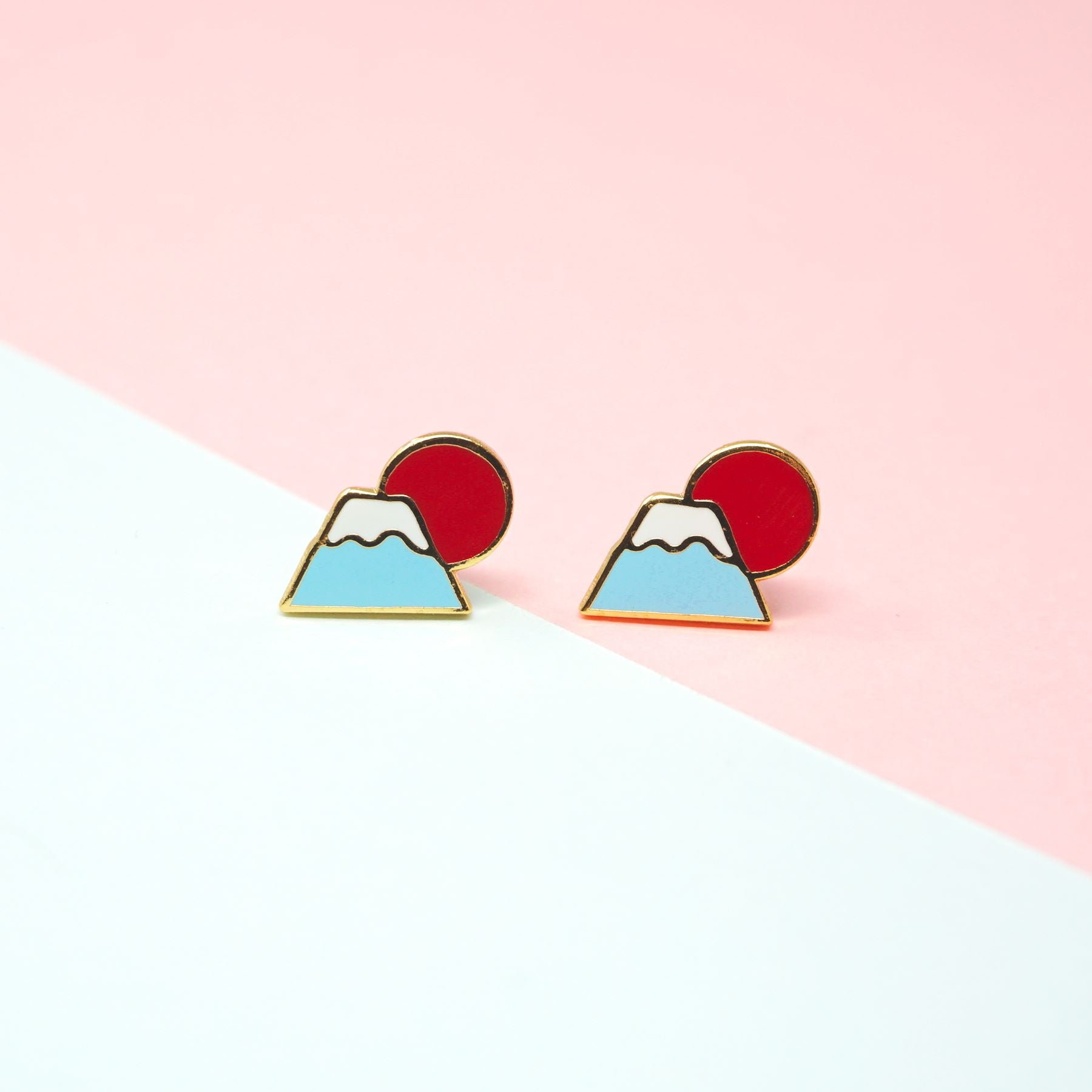 Miss Modi presents Handcrafted Mt. Fuji Sunrise Enamel Stud Earrings