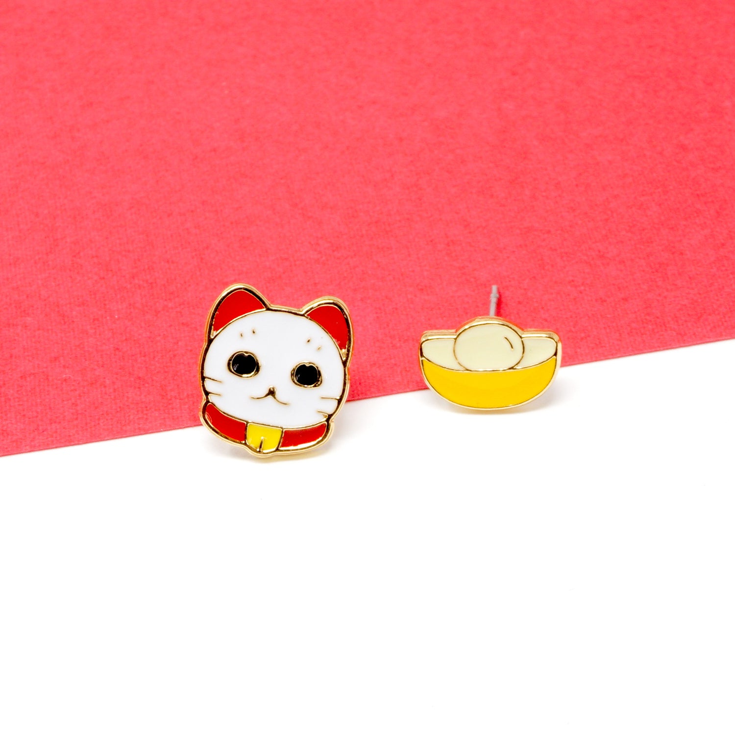 Lunar New Year Mismatched Enamel Stud Earrings