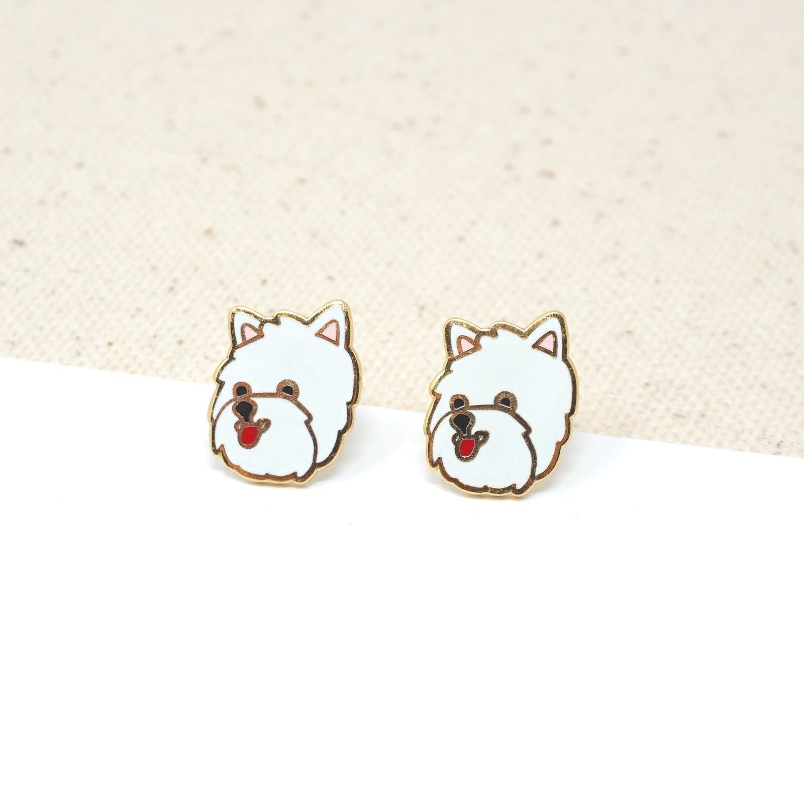 Handcrafted Westie Enamel Stud Earrings