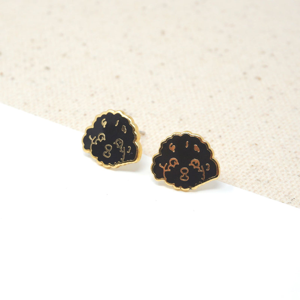 Handcrafted Black Poodle Enamel Stud Earrings
