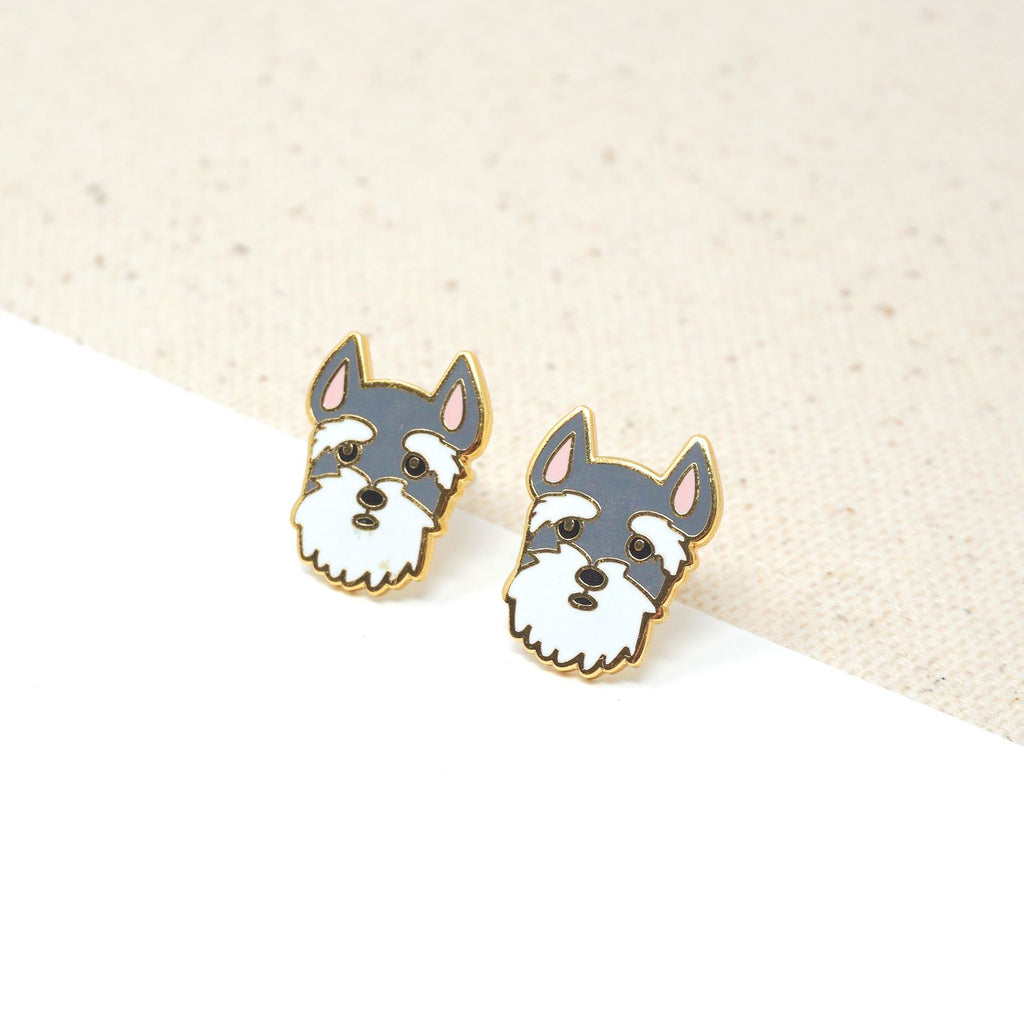 Handcrafted Schnauzer Head Enamel Stud Earrings