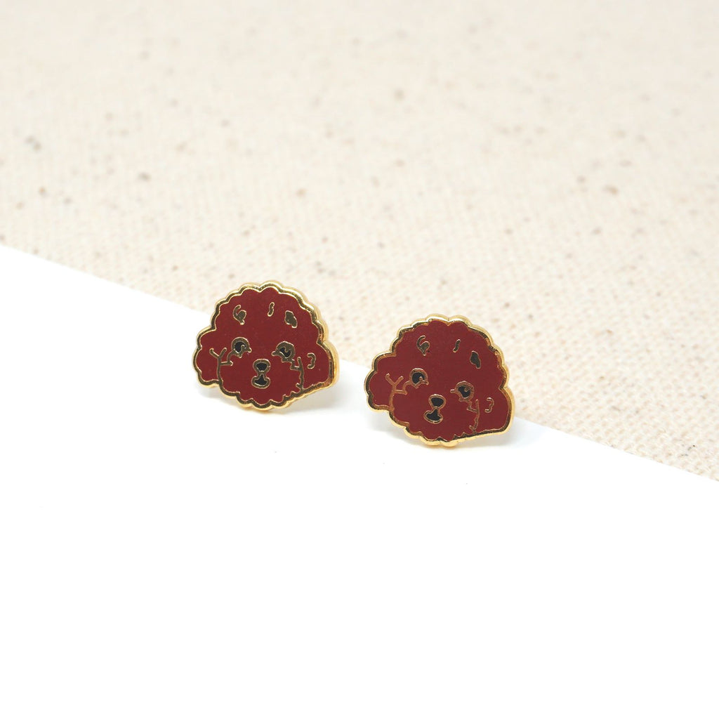 Handcrafted Brown Poodle Enamel Stud Earrings