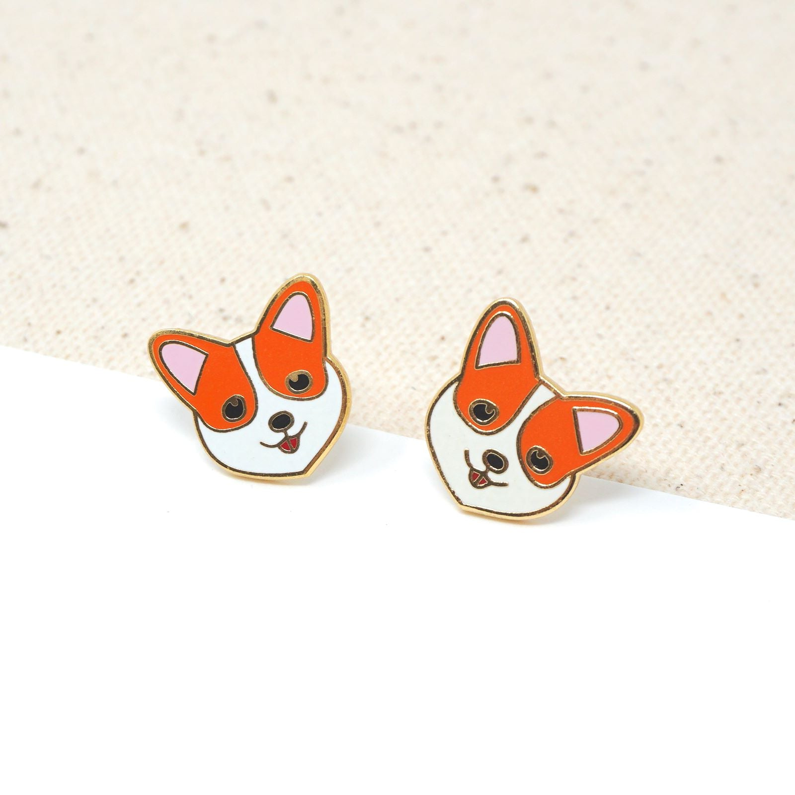 Handcrafted Welsh Corgi Enamel Stud Earrings