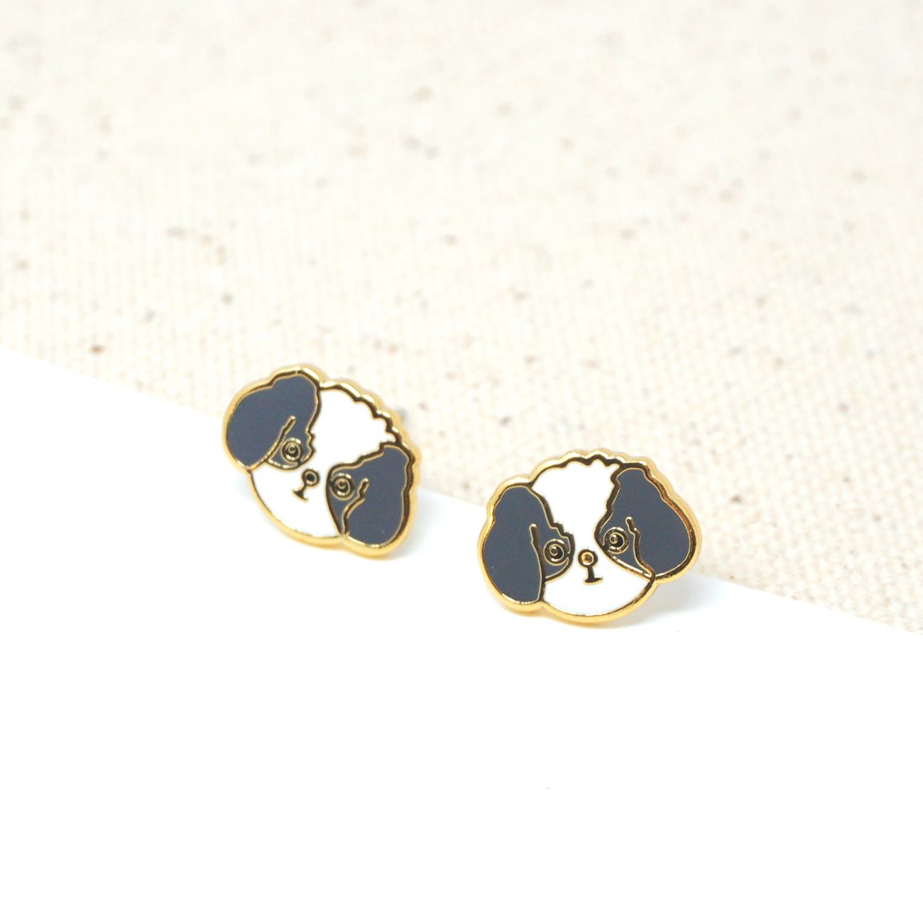 Handcrafted Gray Shih Tzu Enamel Stud Earrings | Miss Modi