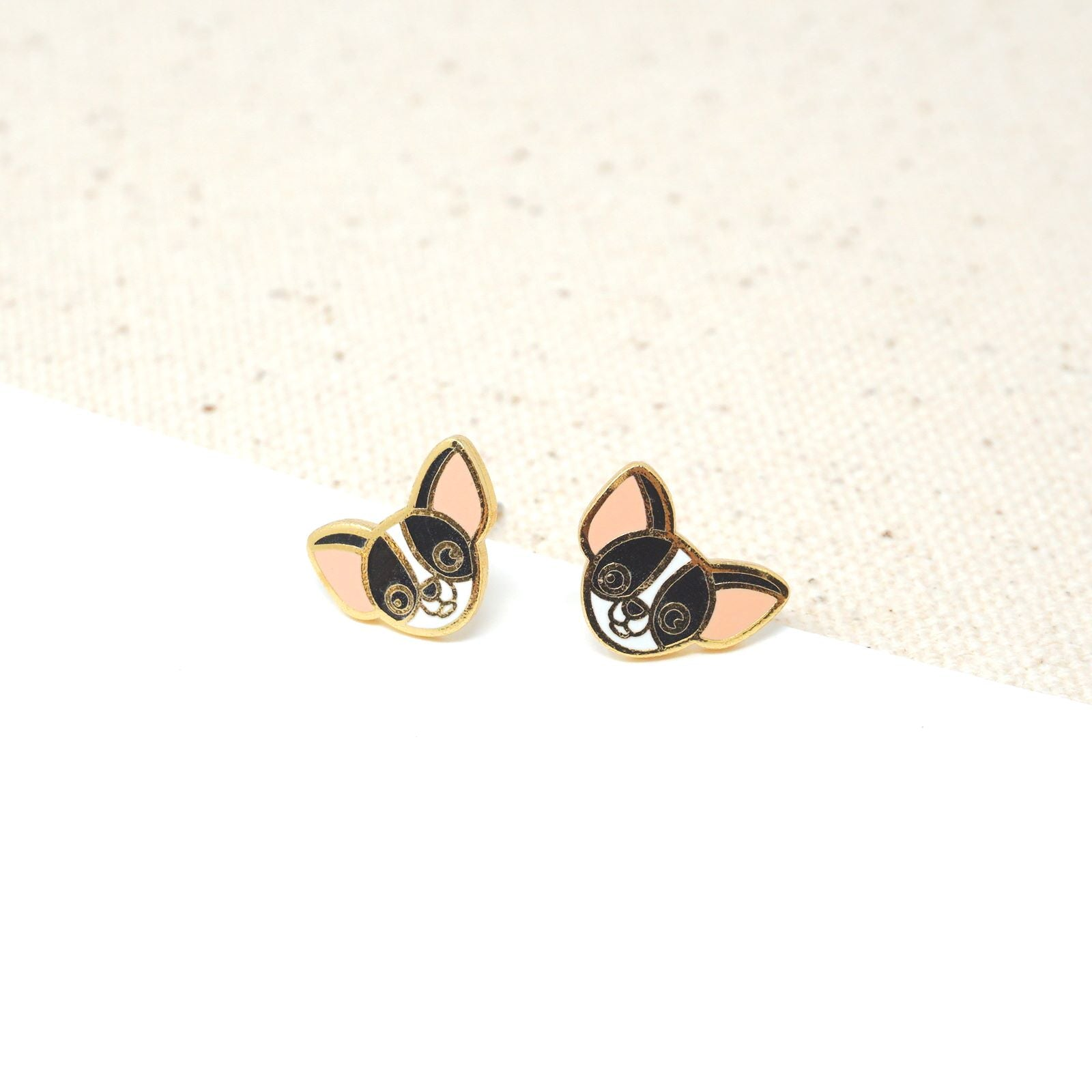 Handcrafted Black Chihuahua Enamel Stud Earrings
