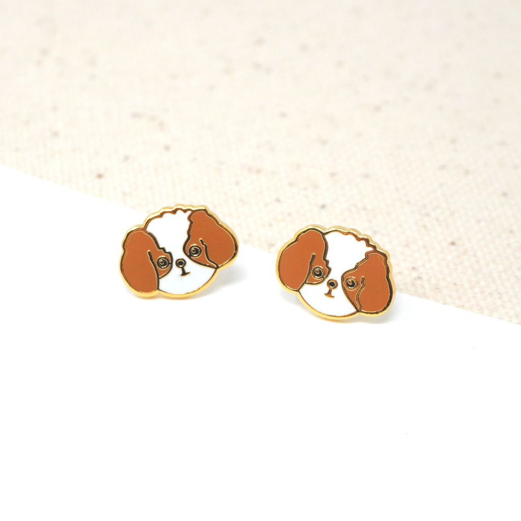 Handcrafted Brown Shih Tzu Enamel Stud Earrings