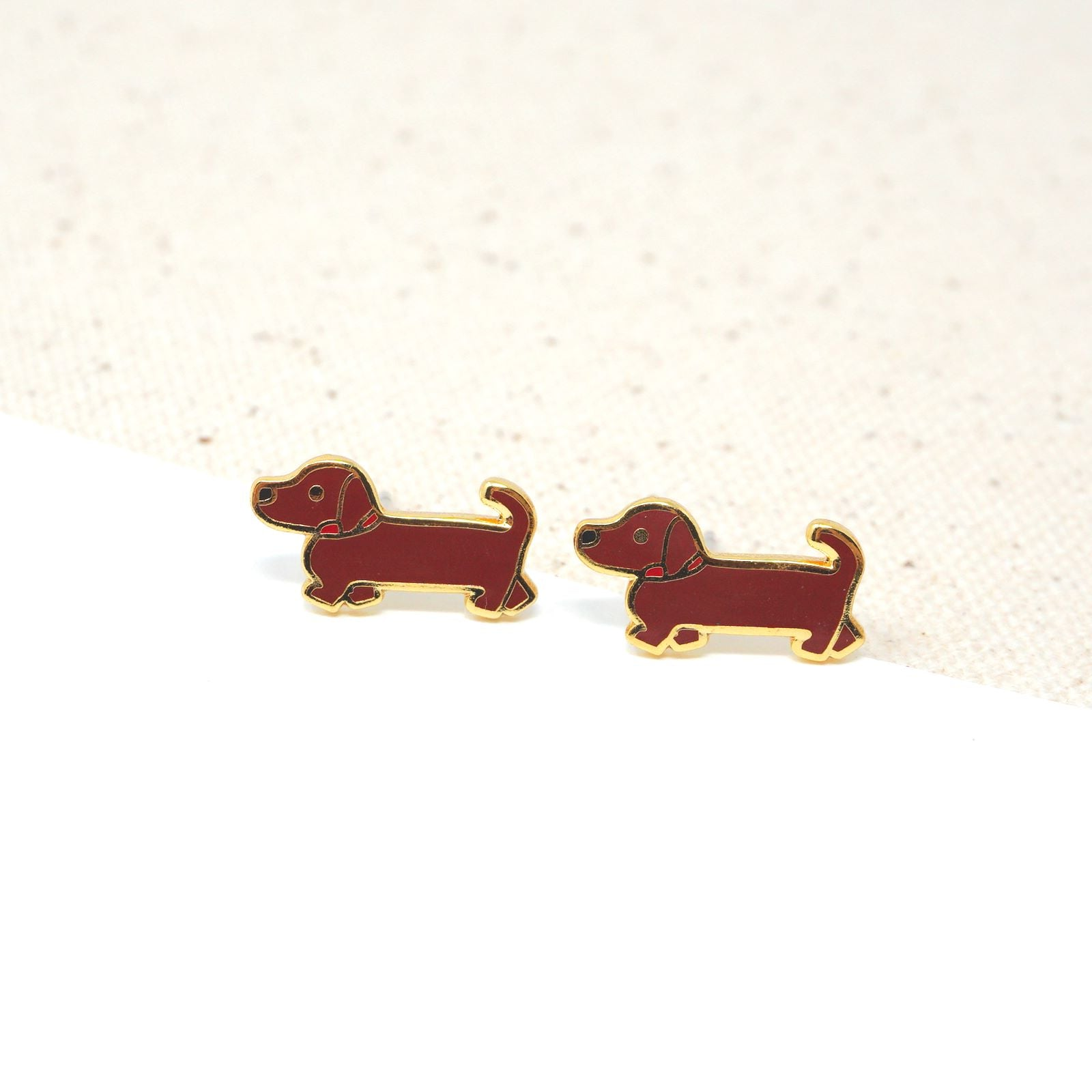 Brown Doxie (Dachshund) Enamel Stud Earrings