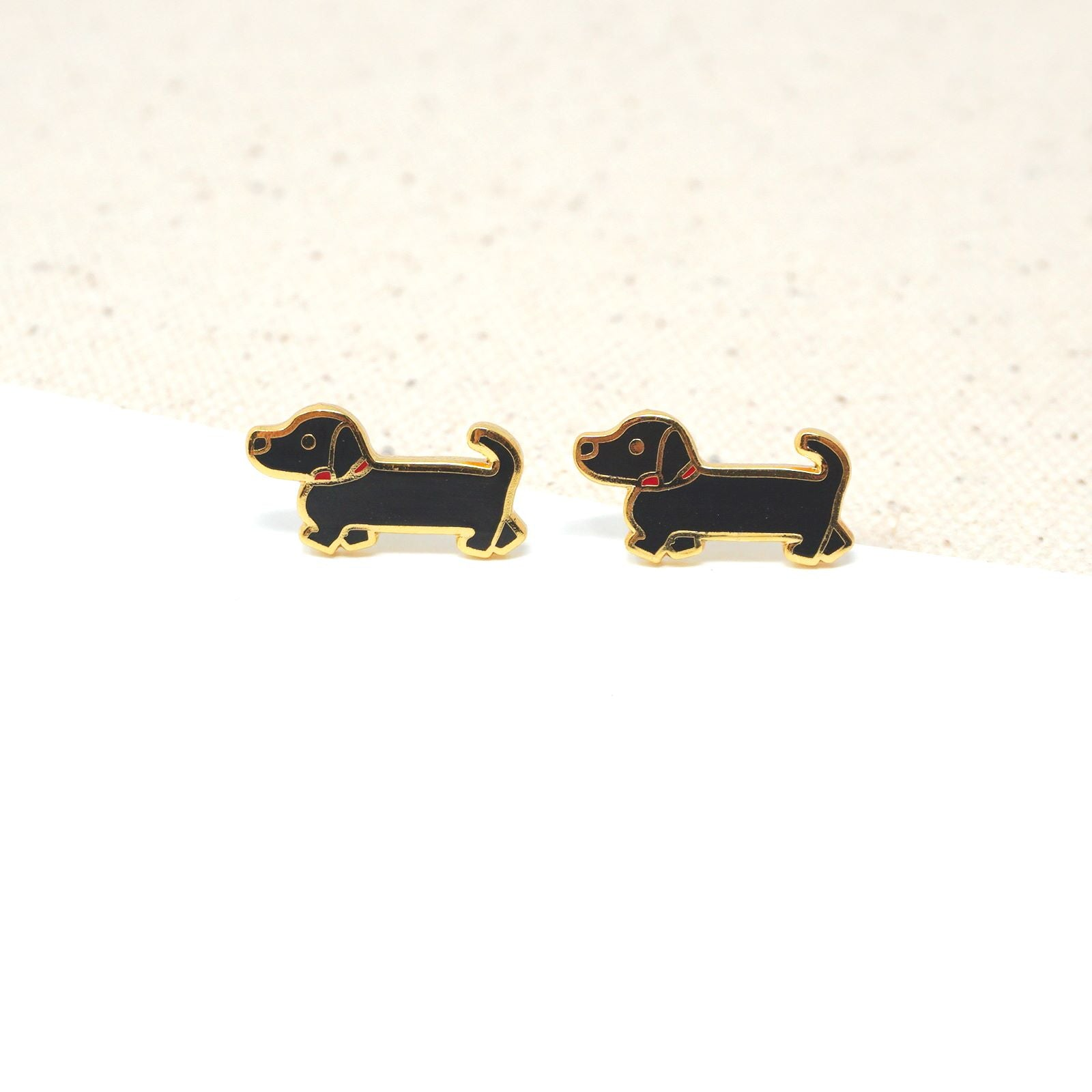 Black Doxie (Dachshund) Enamel Stud Earrings