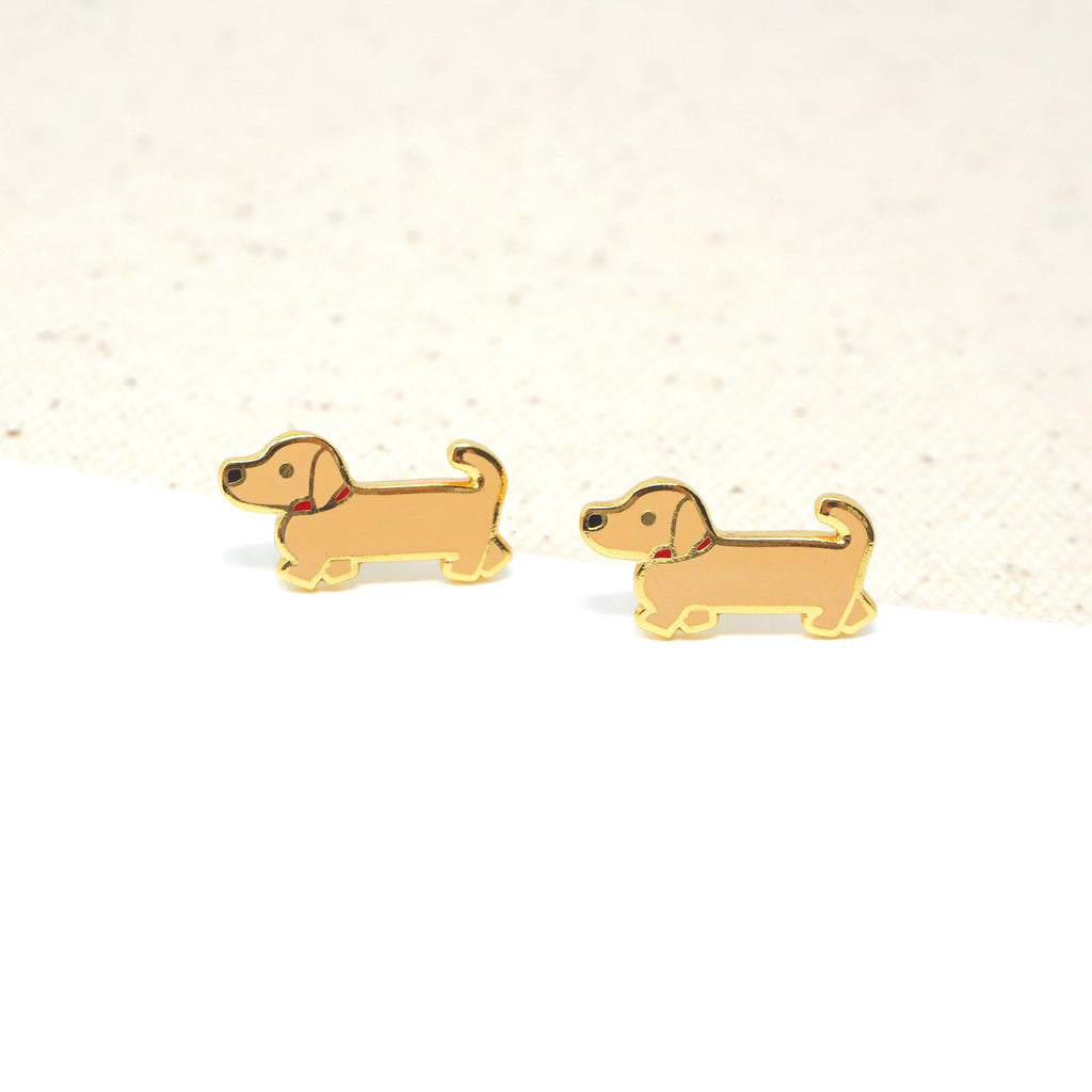 Handcrafted Tan Doxie (Dachshund) Enamel Stud Earrings