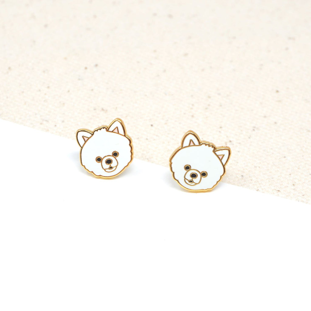 Handcrafted White Pomeranian Enamel Stud Earrings