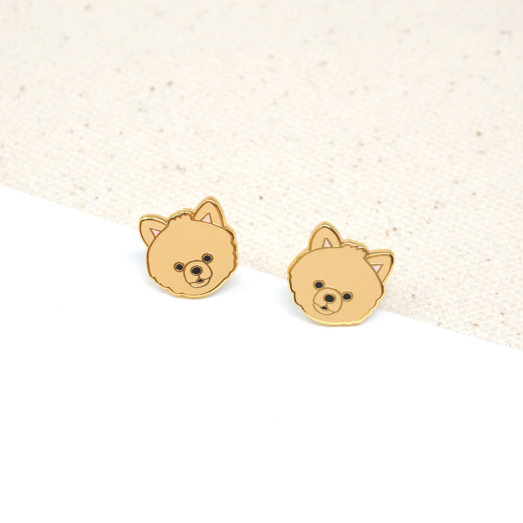 Handcrafted Tan Pomeranian Enamel Stud Earrings