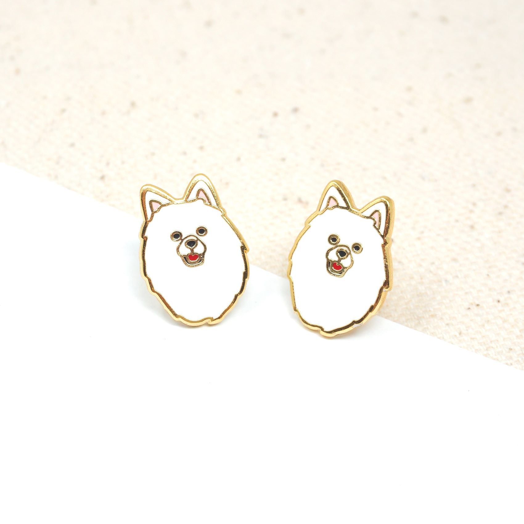 Handcrafted Samoyed Enamel Stud Earrings | Miss Modi