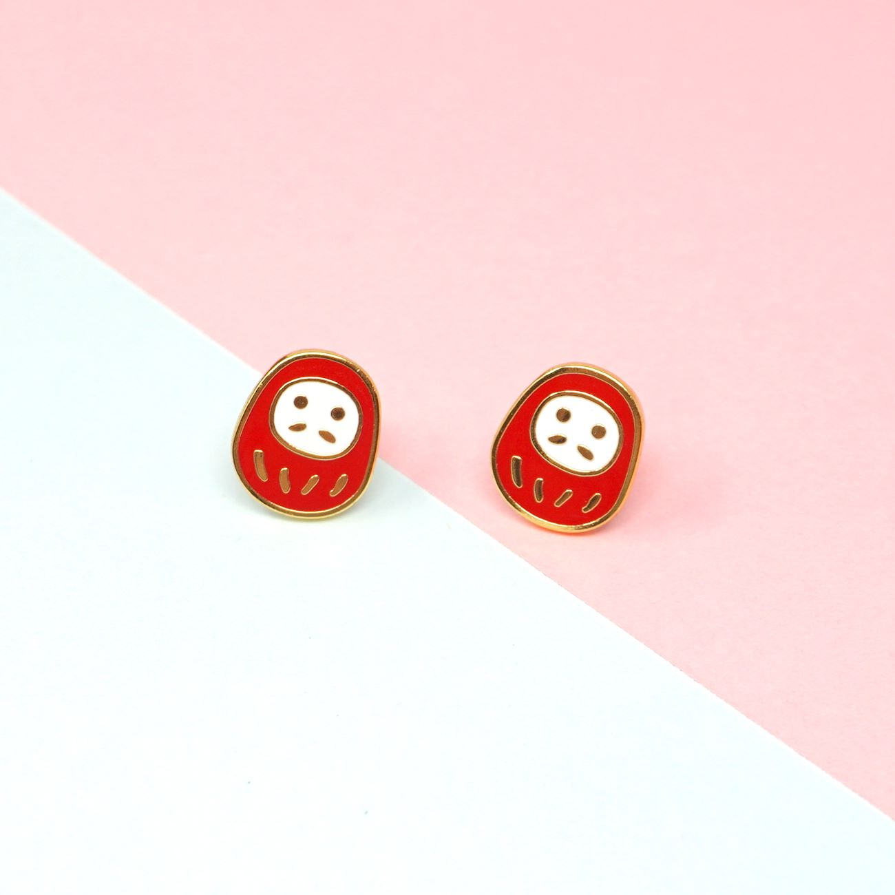Miss Modi presents Handcrafted Daruma Enamel Stud Earrings