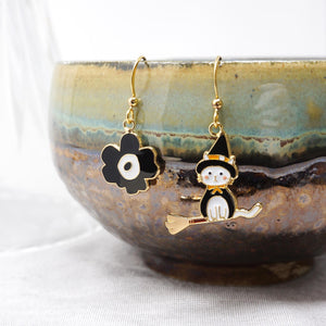 Li'l Witch Cat + Poppy Enamel Drop Earrings