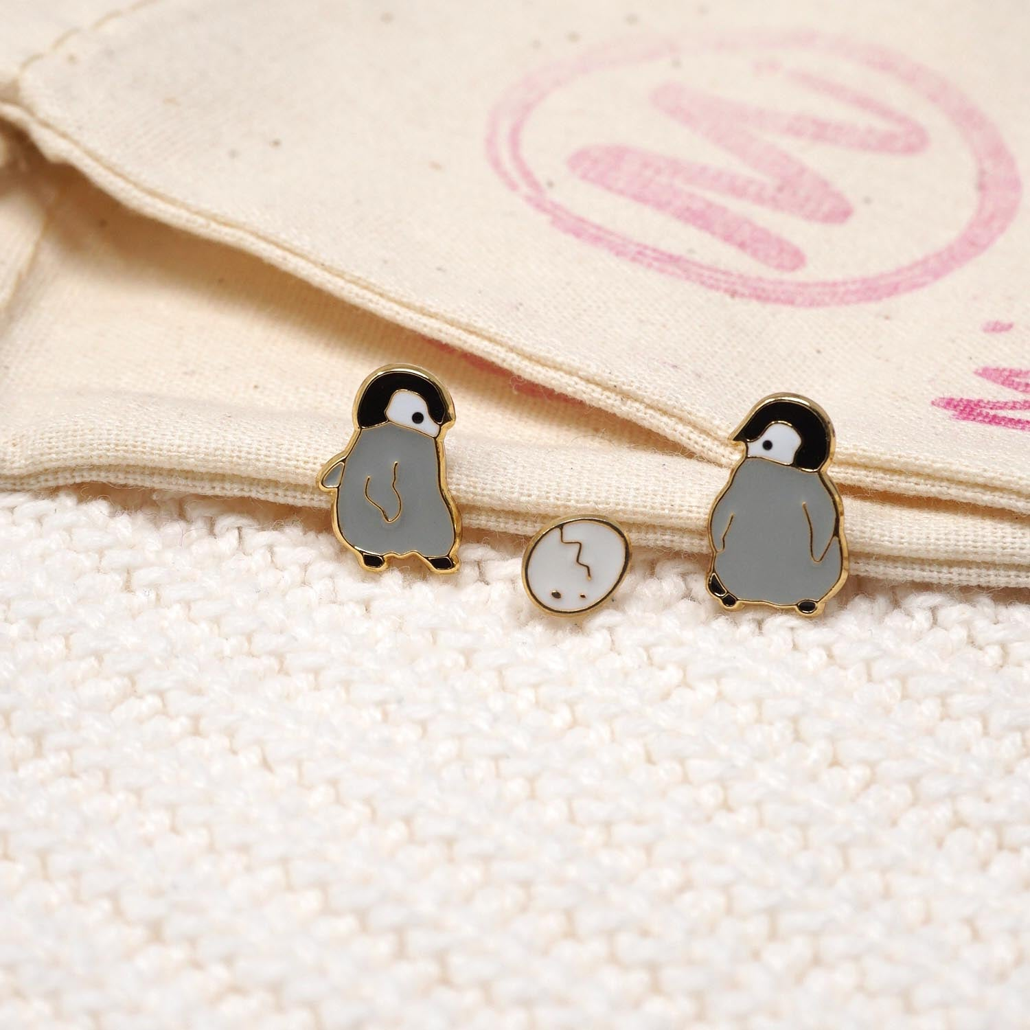 Penguin Enamel Stud Earrings