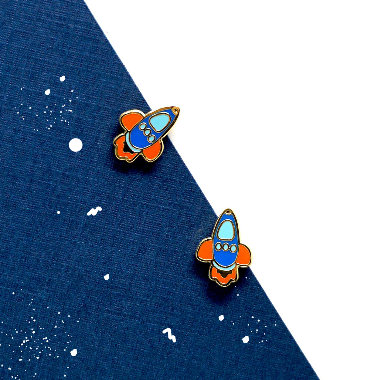 Miss Modi presents Little OH! Jet Rocket Enamel Stud Earrings