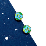 Handcrafted Earth Planet Enamel Stud Earrings | Miss Modi