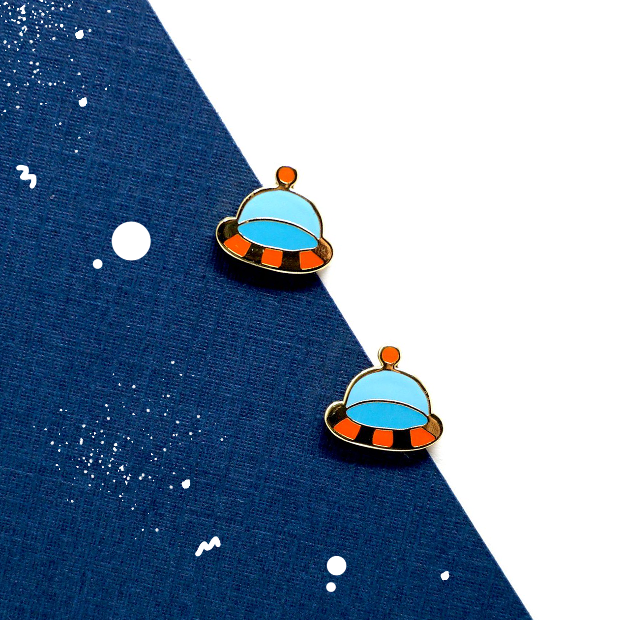 Handcrafted Floating UFO Enamel Stud Earrings | Miss Modi