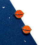 Hand-crafted Orange Planet Enamel Stud Earrings | Miss Modi