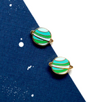 Handcrafted Green Planet Enamel Stud Earrings | Miss Modi