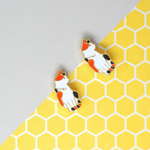Handcrafted Calico Cat Enamel Stud Earrings
