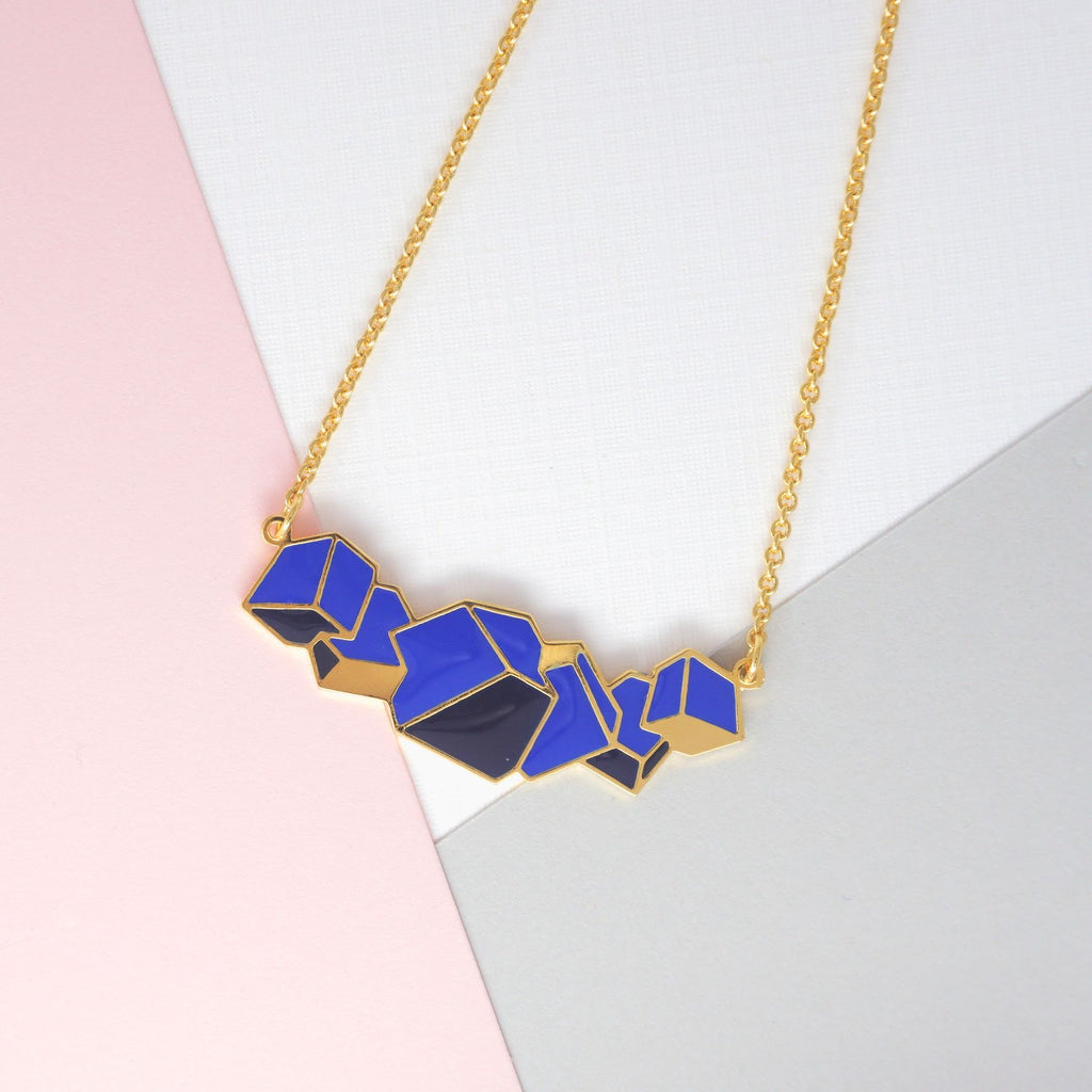 Miss Modi presents Handcrafted Blue Glacial Heart Ore Enamel Necklace