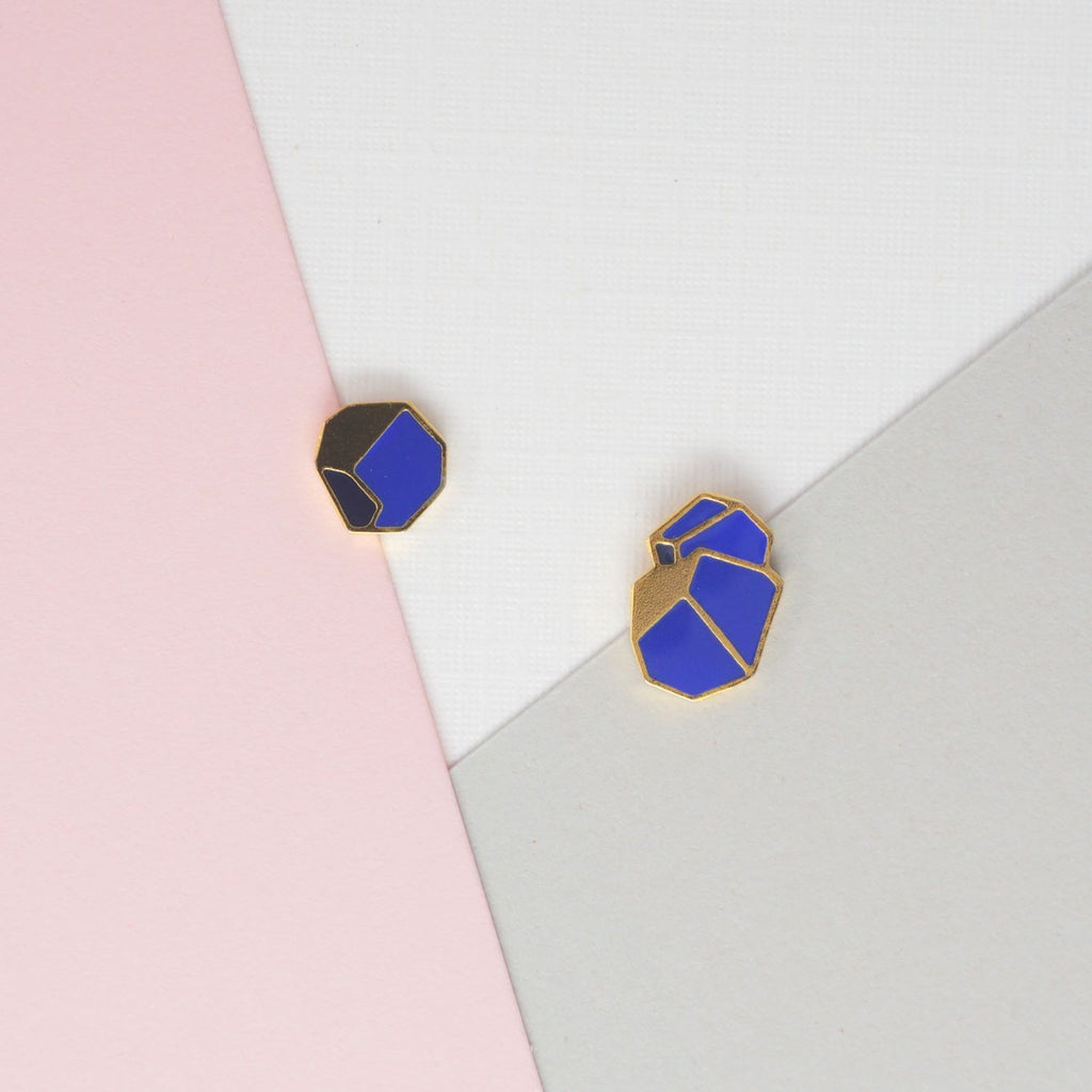 Miss Modi presents Handcrafted Blue Glacial Heart Ore Enamel Stud Earrings