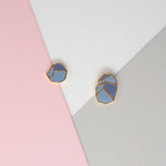 Miss Modi presents Handcrafted Gray Glacial Heart Ore Enamel Stud Earrings