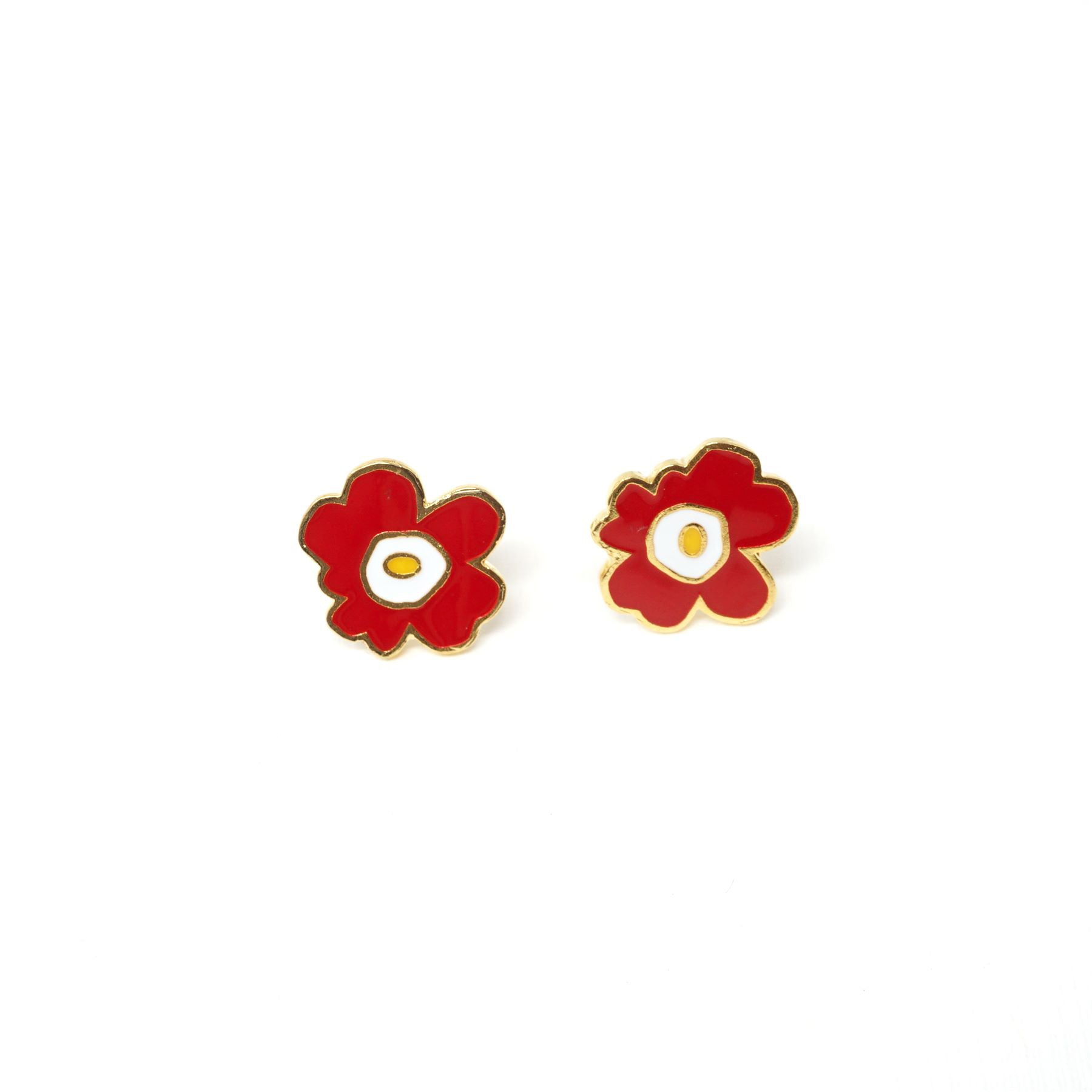 Miss Modi presents Handcrafted Red Poppy Enamel Stud Earrings