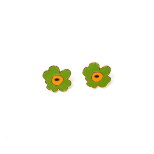 Miss Modi presents Handcrafted Green Poppy Enamel Stud Earrings