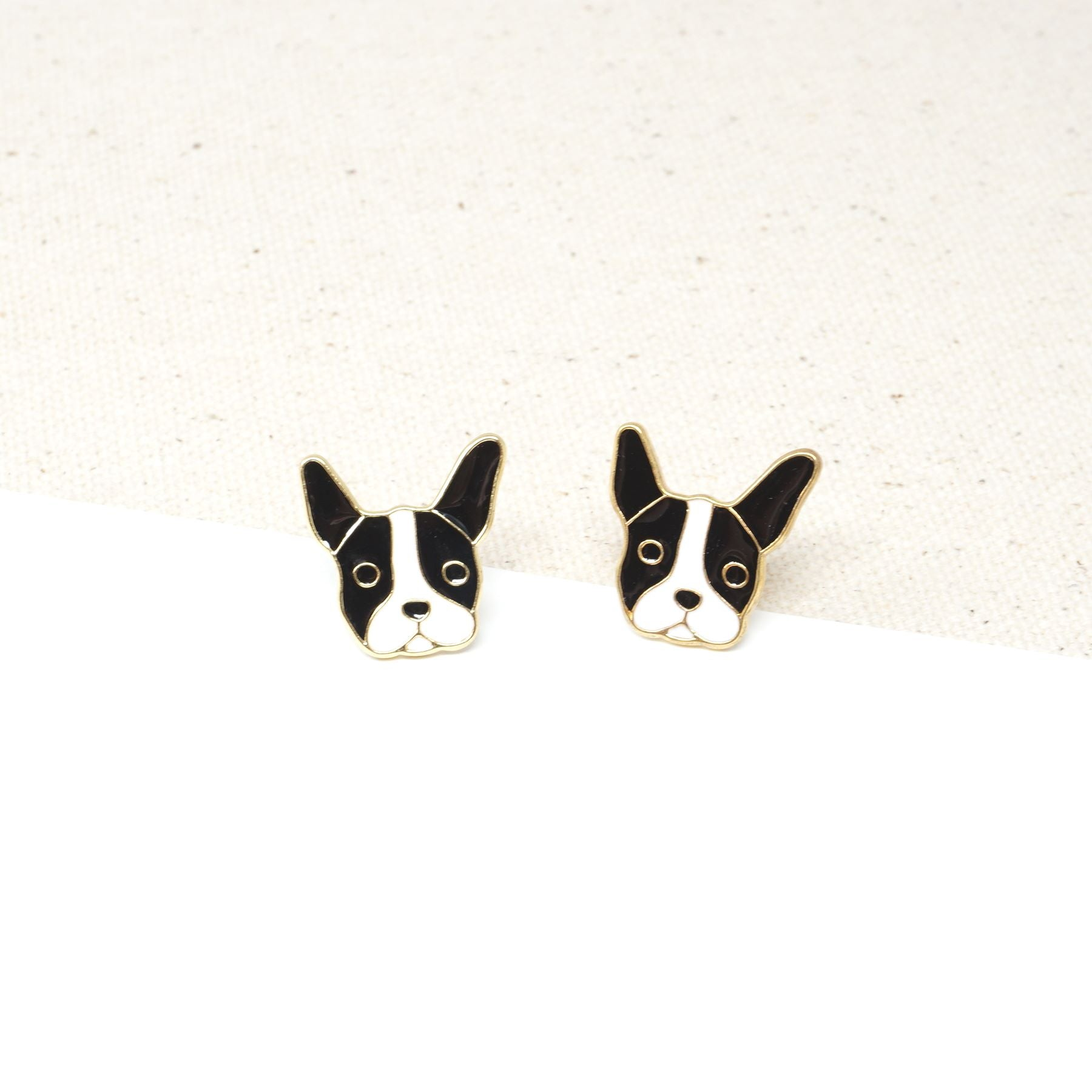 Handcrafted Bulldog Enamel Stud Earrings