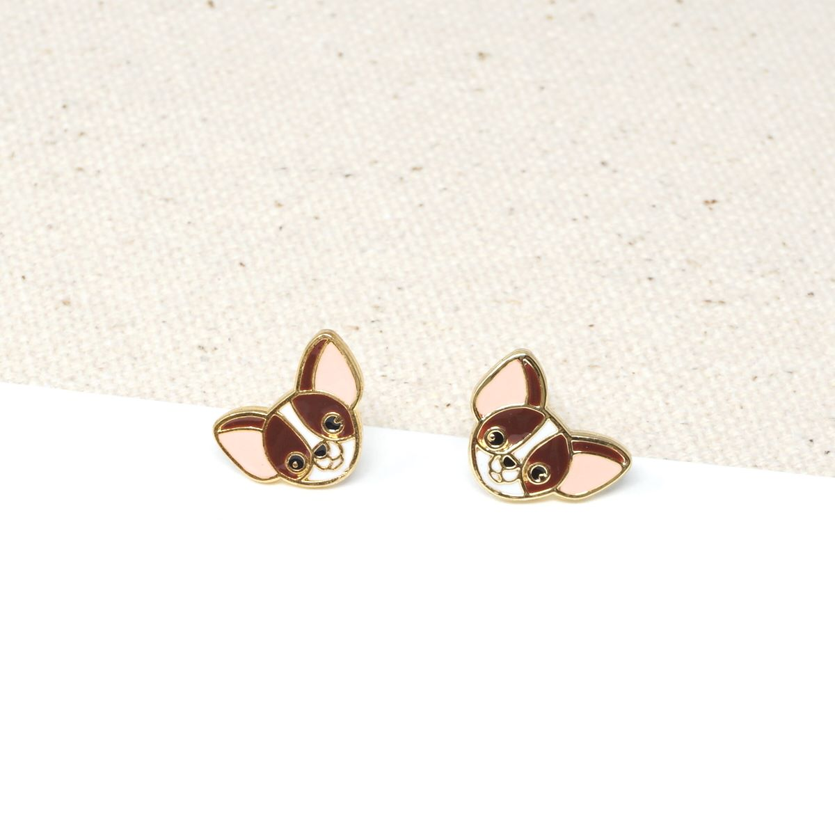 Handcrafted Brown Chihuahua Enamel Stud Earrings