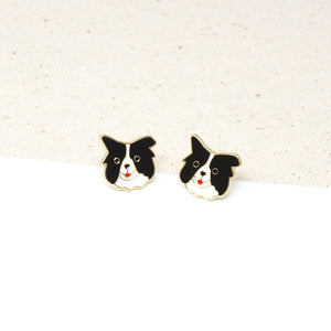 Handcrafted Border Collie Enamel Stud Earrings