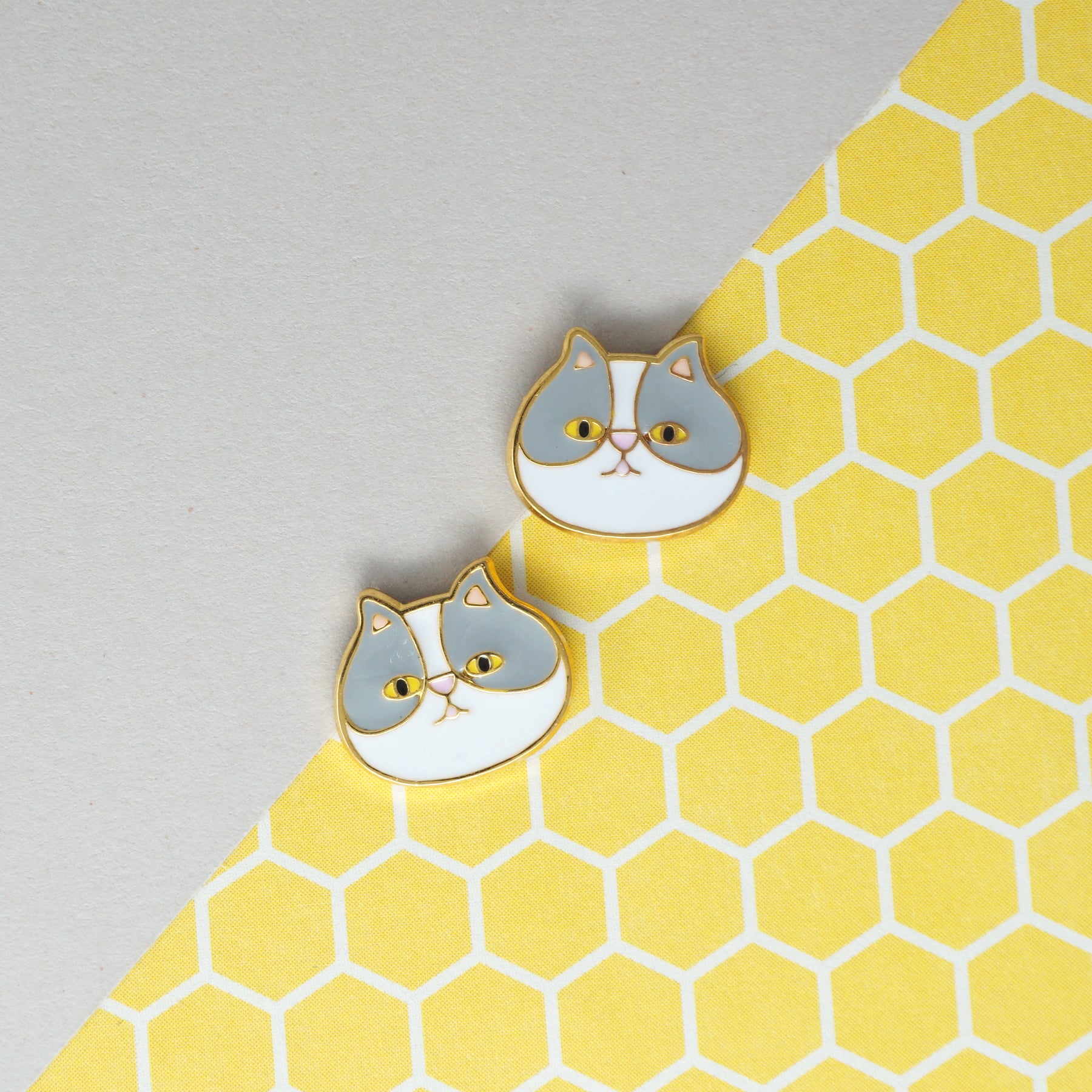 Handcrafted Persian Gray Enamel Stud Earrings