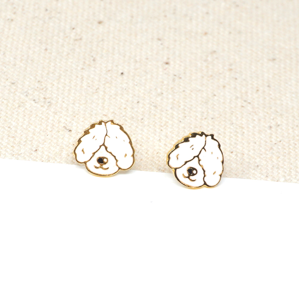 Handcrafted Old English Sheepdog Enamel Stud Earrings