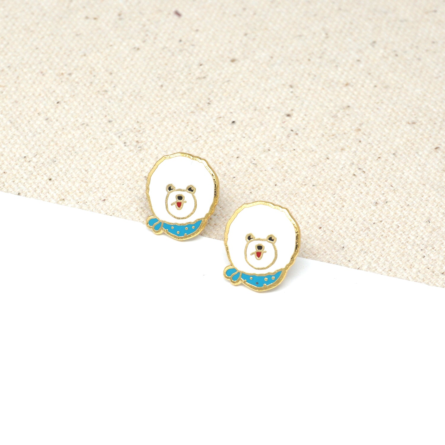 Handcrafted Bichon Frise Enamel Stud Earrings