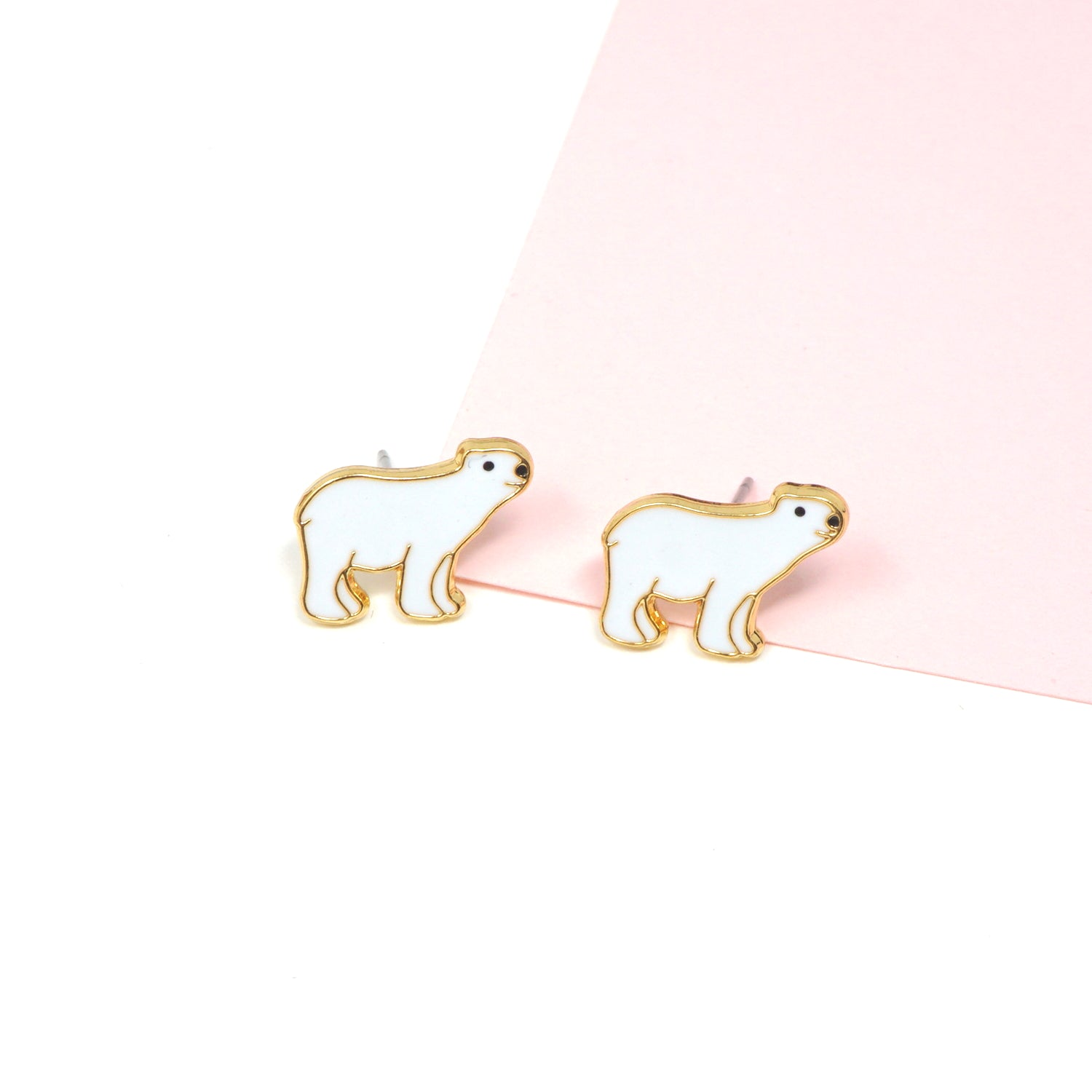 Handcrafted Polar Bear Enamel Stud Earrings