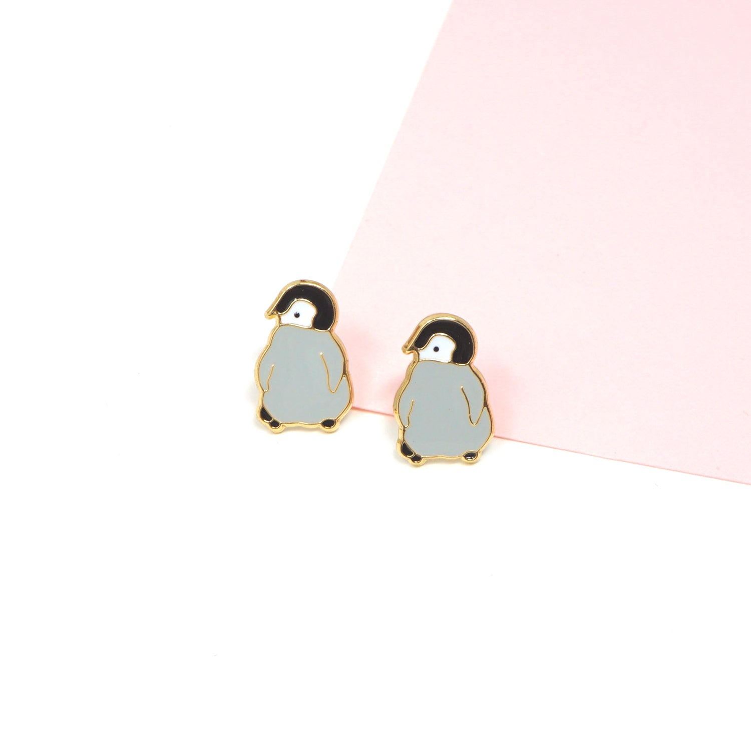 Handcrafted Penguin Enamel Stud Earrings
